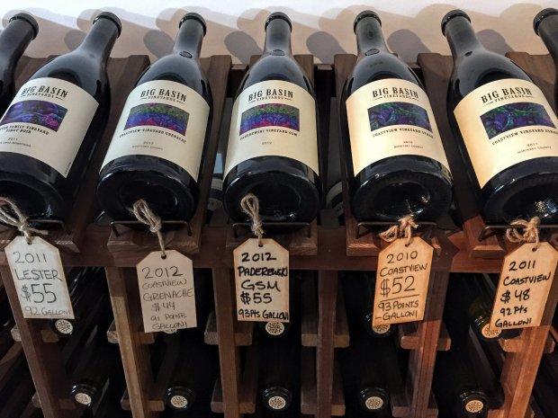 A wine rack at Big Basin Vineyard's Saratoga tasting room. Photo credit: Mary Orlin/Staff