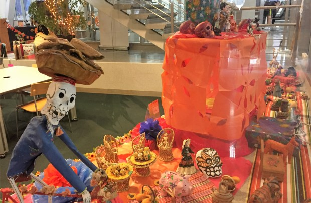 A Dia de los Muertos altar created by San Jose artist Raquel Burciaga is on display in the children's area of the Dr. Martin Luther King Jr. Main Library in San Jose. (Sal Pizarro/Bay Area News Group)