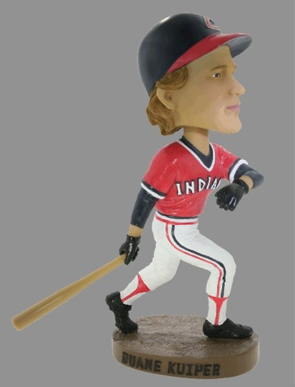 Bobblehead of Giants announcer Duane Kuiper, celebrating the one home run of his major league playing career.
