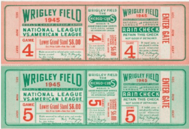 1945 Cubs World Series tickets