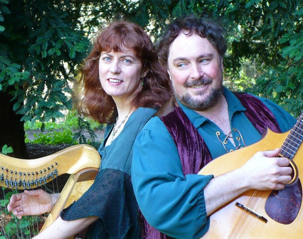 "Margaret Davis and Kristoph Klover make up the duo Margaret & Kristoph, which will perform ""The Music of J.R.R. Tolkien"" at Menlo Park Library's Comic Con on Oct. 15. The married couple are also half of the Celtic quartet Broceliande. (Photo by Eric Gable)"