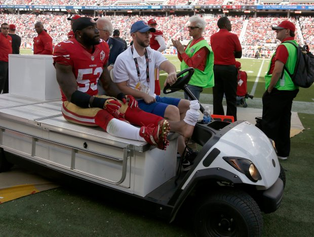 San Francisco 49ers' NaVorro Bowman (53) is carted off the field after being injured in the third quarter of their NFL game against the Dallas Cowboys at Levi's Stadium in Santa Clara, Calif., on Sunday, Oct. 2, 2016. (Nhat V. Meyer/Bay Area News Group)