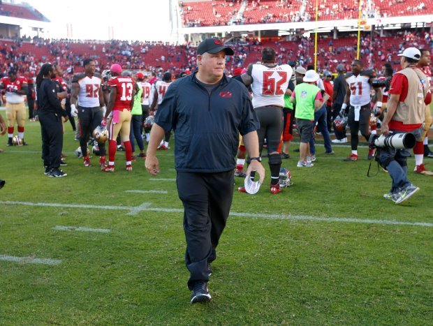 San Francisco 49ers head coach Chip Kelly leaves the field following their 34-17 loss to the Tampa Bay Buccaneers for their NFL game at Levi's Stadium in Santa Clara, Calif., on Sunday, Oct. 23, 2016. (Nhat V. Meyer/Bay Area News Group)