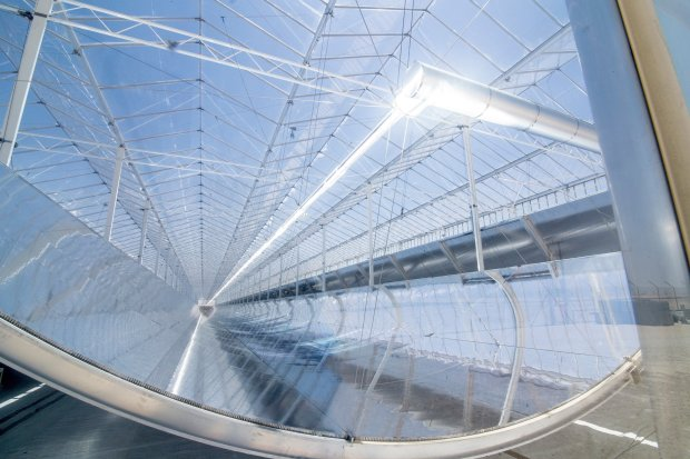 The interior of a GlassPoint solar system. The mirrors track the sun throughout the day, focusing heat on water-filled pipes. The concentrated sunlight boils the water to generate steam, which is injected into the oil reservoir to heat heavy crude. (Photo courtesy of GlassPoint)