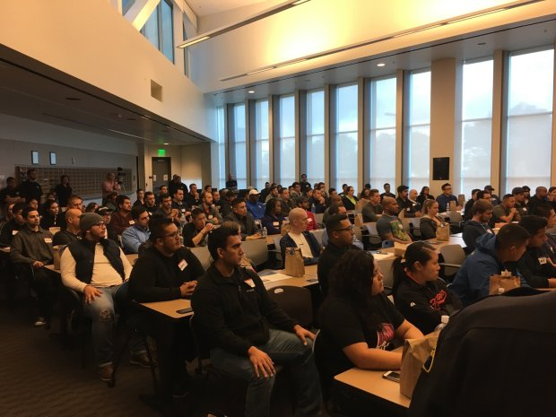 As many as 200 potential police applicants attend a career day held by the San Jose Police Department at its substation in South San Jose on Oct. 15, 2016.