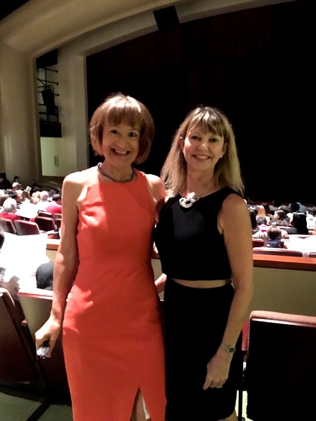 Courtesy of Camille Townsend Palo Alto Unified School Board Member Camille Townsend, left, and Holly Ward, president of Paly Performing Arts Boosters were instrumental in putting together the opening celebration performance for the Palo Alto High School Theatre on Saturday, Oct. 1, 2016.