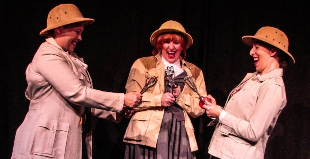 "Kimberlee Wittlieb / Dragon Theatre Doll Piccotto, Meredith Hagedorn and Maria Giere, from left, in ""On the Verge, or The Geography of Yearning,"" playing Oct. 14 through Nov. 6, 2016, at Dragon Productions Theatre in downtown Redwood City."