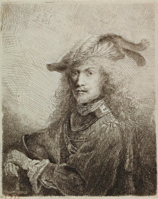 """Portrait of an Officer (SelfPortrait),"" 1645, etching and drypoint by Ferdinand Bol (the Netherlands, 1616-1680), part of ""The Wonder of Everyday Life: Dutch Golden Age Prints,"" Nov. 16 through March 20 in the Ruth Levison Halperin Gallery at Cantor Arts Center, Stanford. (Cantor Arts Center Collection, Mortimer C. Leventritt Fund, 1972.53)"