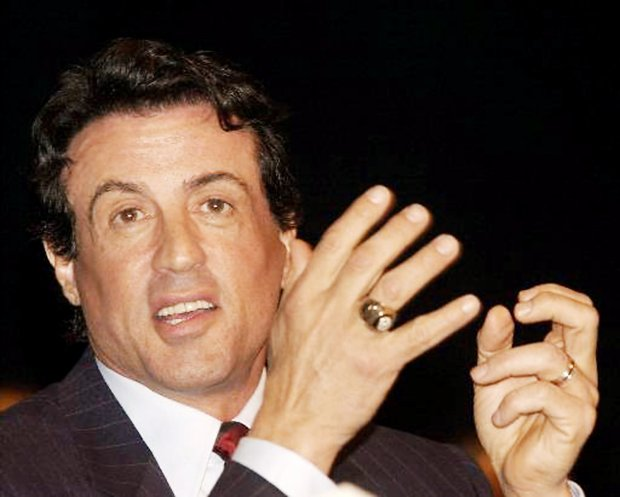 "Sylvester Stallone talks during the Warner Bros. Pictures luncheon at ShoWest at the Paris Hotel and Casino in Las Vegas on Thursday, March 8, 2001. Stallone was in town promoting his movie ""Driven."" (AP Photo/Laura Rauch)"