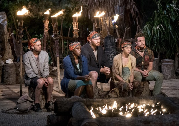 """Idol Search Party"" - David Wright, Ciandre Taylor, Chris Hammons, Michelle Schubert and Ezekiel/Zeke Smith at Tribal Council on the fifth episode of SURVIVOR: Millennials vs. Gen. X, airing Wednesday, Oct. 19 (8:00-9:00 PM, ET/PT) on the CBS Television Network. Photo: Monty Brinton/CBS Entertainment ©2016 CBS Broadcasting, Inc. All Rights Reserved."