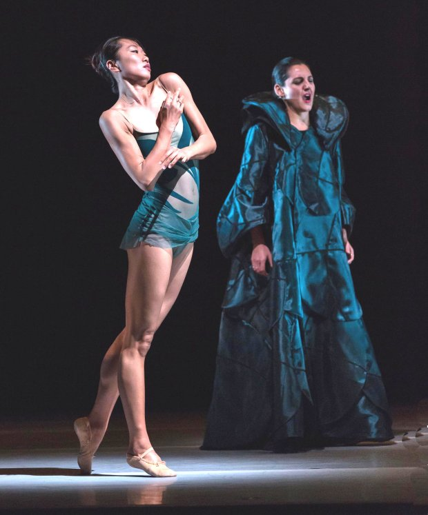 "LINES Ballet dancer Yujin Kim, left, and mezzo-soprano Maya Lahyani perform in the world premiere of ""Art Songs,"" at San Francisco's Yerba Buena Center for the Arts through Nov. 6. (Quinn B. Wharton)"