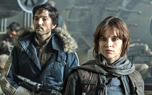"Felicity Jones, right, plays Jyn Erso in ""Rogue One: A Star Wars Story,"" opening Dec. 16. (Walt Disney Studios Motion Pictures)"