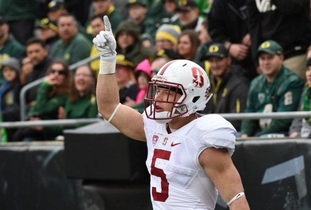 EUGENE, OR - NOVEMBER 12: Running back Christian McCaffrey #5 of the Stanford Cardinal celebrates a long touchdown run during the first quarter of the game against the Oregon Ducks at Autzen Stadium on November 12, 2016 in Eugene, Oregon. (Photo by Steve Dykes/Getty Images)