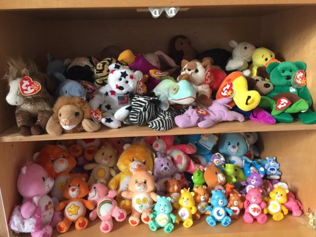 COURTESY CINDY SHANKER In Cindy Shanker's daughter's old room in the family's Los Gatos home, Beanie Babies still fill a shelf built specially to contain the collection.