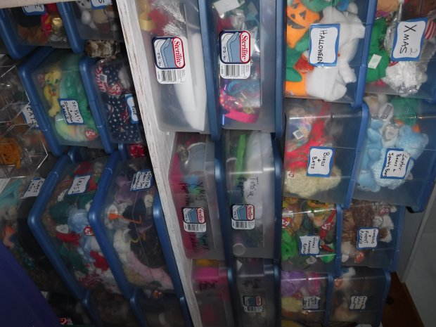 COURTESY HELEN PEREIRA A highly organized Beanie Baby collector, Helen Pereira of Martinez has more than two dozen carefully labeled bins of categorized Beanies.