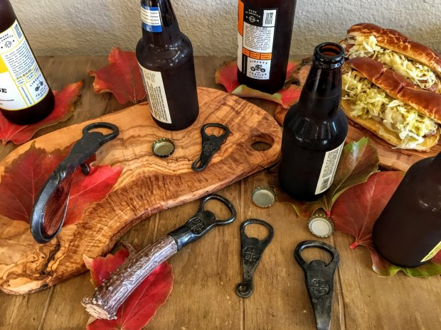 From Paso Robles' BarrelHouse Brewing Co., hand-forged beer bottle openers made by local blacksmith Max Randolph. Left to right: Pistol Grip Opener ($125), Bone Handle Opener ($75) and three Forged Openers ($45 each). Photo credit: Mary Orlin/Bay Area News Group