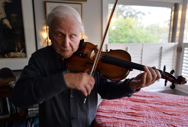 Stuart Canin practices violin at his home in Berkeley, Calif., on Monday, Nov. 7, 2016. As a young soldier in the U.S. Army, Canin was among a group of musicians that performed in Berlin for Harry Truman, Winston Churchill and Joseph Stalin at the end of World War II. (Kristopher Skinner/Bay Area News Group)