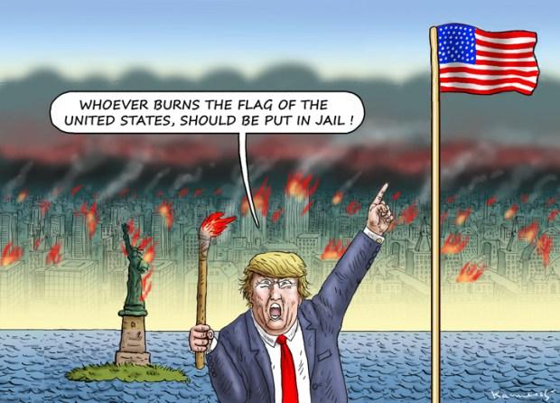 Cartoons Donald Trump and burning the American flag