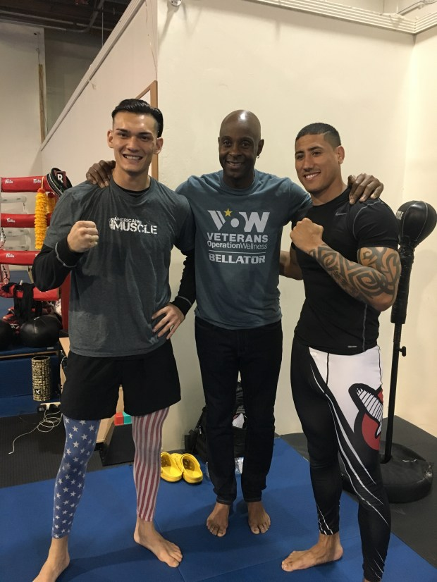"Jerry Rice worked out with Amy veterans Dominic Sumner (left) and Justin ""J.T."" Roswell on Tuesday in advance of their bout on Saturday at SAP Center. (Photo courtesy of Spike)"