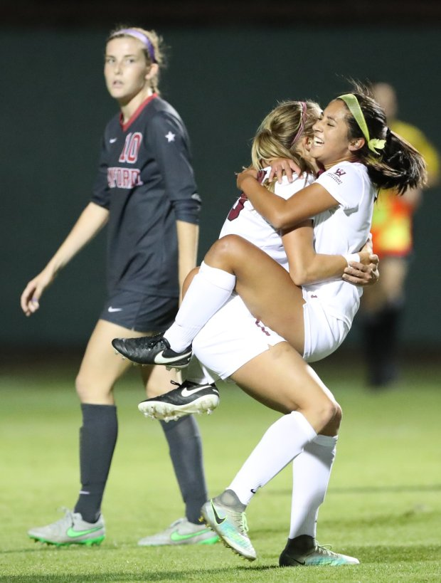 Santa Clara players celebrate after knocking off top-seeded Stanford 1-0 in the second round of the NCAA women's soccer tournament Friday night Nov. 18, 2016. Santa Clara advances to the Sweet 16 round Sunday Nov. 20, 2016. (Courtesy Santa Clara Athletics)