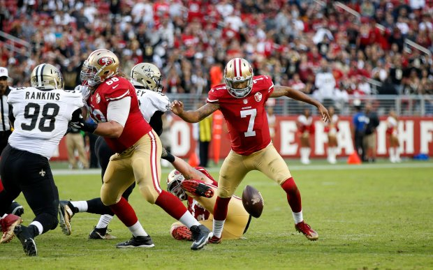 San Francisco 49ers quarterback Colin Kaepernick (7) fumbles the ball on a snap against the New Orleans Saints in the second half of their NFL game at Levi's Stadium in Santa Clara, Calif., on Sunday, Nov. 6, 2016. (Josie Lepe/Bay Area News Group)