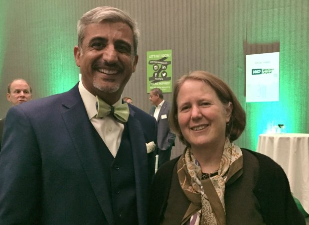 Silicon Valley Education Foundation CEO Muhammed Chaudhry, left, and Google Senior Vice President Diane Greene, who received the foundation's Pioneer Business Leader Award at the 12th annual Pioneers and Purpose gala at the San Jose McEnery Convention Center on Wednesday, Nov. 9, 2016. (Sal Pizarro/Staff)
