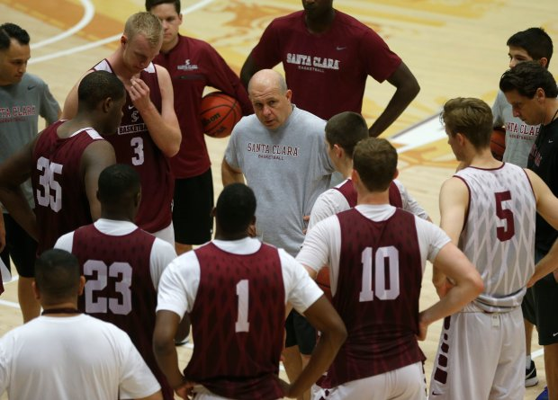 Santa Clara University head basketball coach Herb Sendek talks to his team during practice at the Leavey Center at the university in Santa Clara, Calif., on Wednesday, Nov. 16, 2016. (Nhat V. Meyer/Bay Area News Group)