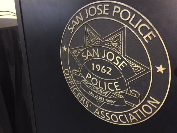 An emblem of the San Jose Police Officers' Association photographed at the union's headquarters during a news conference on Nov. 23, 2016.