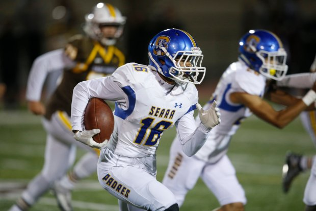 Junipero Serra's Sitaleki Nunn runs the ball after catching a pass against Saint Francis in the second quarter during the Central Coast Section Open Division II semifinal at Saint Francis High School Friday, Nov. 18, 2016, in Mountain View, Calif. (Jim Gensheimer/Bay Area News Group)