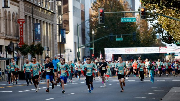 Nearly 25,000 participants race in the 12th Annual Applied Materials Silicon Valley Turkey Trot in downtown San Jose, Calif., on Thursday, Nov. 24, 2016. (Josie Lepe/Bay Area News Group)