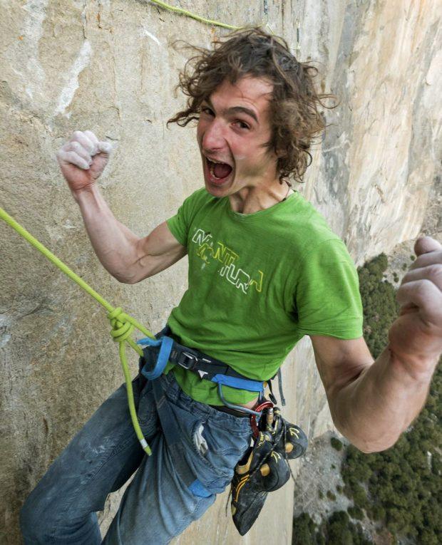 Adam Ondra celebrates after finishing the most difficult pitches of his climb on the Dawn Wall of El Capitan. (Heinz Zak and Black Diamond Equipment via Associated Press)