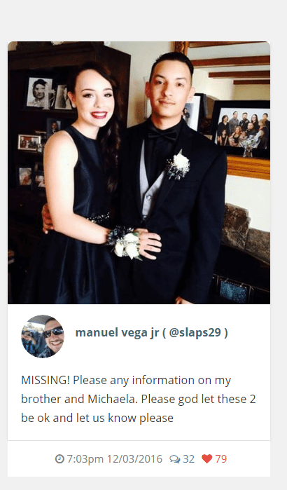 Instagram post by Manuel Vega Jr. of Alex Vega and his girlfriend Michela Gregory, who are missing in the Oakland warehouse fire. (Dec. 3, 2016)