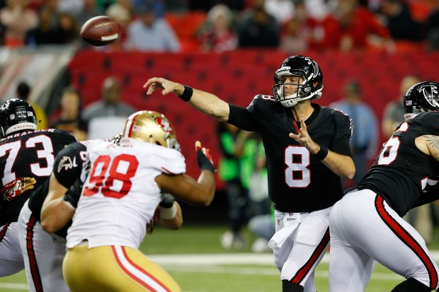 Matt Schaub #8 of the Atlanta Falcons throws a pass during the second half against the San Francisco 49ers at the Georgia Dome on December 18, 2016 in Atlanta, Georgia. (Photo by Kevin C.  Cox/Getty Images)