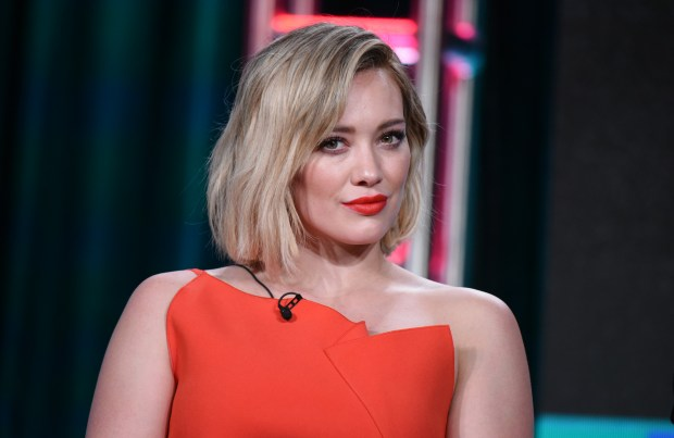 "Hilary Duff speaks during the ""Younger"" panel at the TV Land 2016 Winter TCA on Wednesday, Jan. 6, 2016, in Pasadena, Calif. (Photo by Richard Shotwell/Invision/AP)"