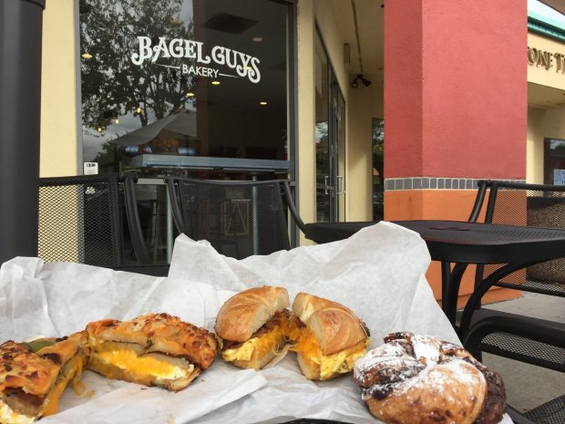 Jalapeño Cheddar and Plain Cragel breakfast sandwiches and Nutella Cragelfrom San Jose's Bagel Guys Bakery. Photo credit: Mary Orlin/Bay Area News Group