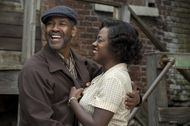 """This image released by Paramount Pictures shows Denzel Washington, left, and Viola Davis in a scene from, """"Fences."""" On Wednesday, Dec. 14, 2016, Washington was nominated for a Screen Actors Guild award for outstanding performance by a male actor in a leading role for his role in the film. Davis was also nominated for outstanding performance by a female actor in a supporting role. (David Lee/Paramount Pictures via AP)"""