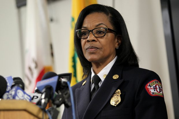 Oakland Fire Chief Teresa Deloach Reed answers questions during a news conference in Oakland, Calif., on Tuesday, Dec. 13, 2016. The investigation into the Fruitvale district warehouse fire that claimed 36 lives on Dec. 2 continues with no final determination of the cause reached according to officials. (Anda Chu/Bay Area News Group)