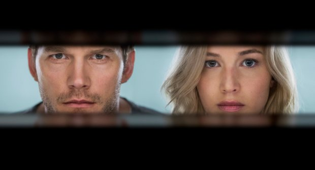 "This image released by Columbia Pictures, Chris Pratt, left, and Jennifer Lawrence in a scene from the film, Passengers."" (Jaimie Trueblood/Columbia Pictures/Sony via AP)"