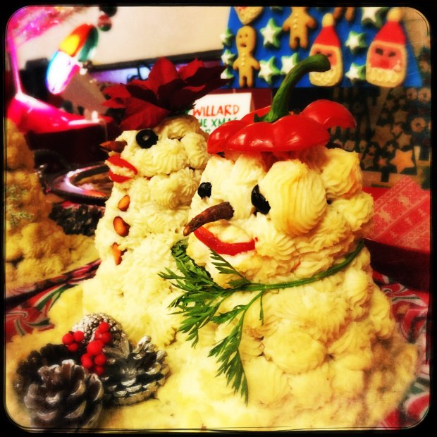 This image was made using a smartphone with filters Histamatic. Bunny's meatball snowman dish at the annual Mid-Century Supper Club Potluck at the Alameda Fraternal Order of Eagles Hall in Alameda, Calif., on Saturday, December 10, 2016. Over 200 attended the ninth annual Mid-Century Supper Club Potluck hosted by Jennye Garibaldi and Karen Finlay.