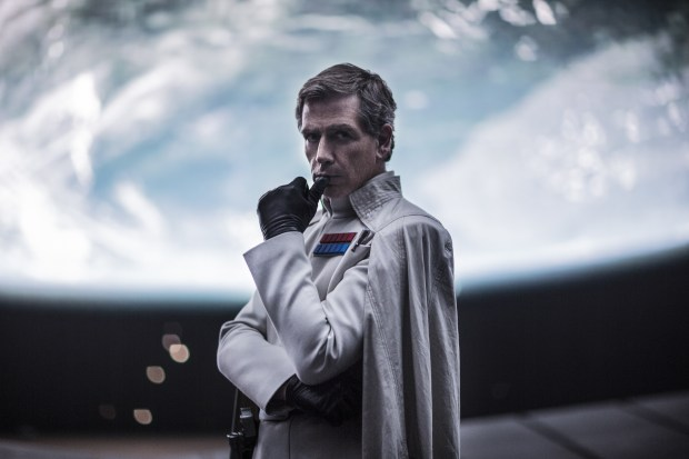 "This image released by Lucasfilm Ltd. shows Ben Mendelsohn as Director Krennic in a scene from ""Rogue One: A Star Wars Story."" (Jonathan Olley/Lucasfilm Ltd. via AP)"