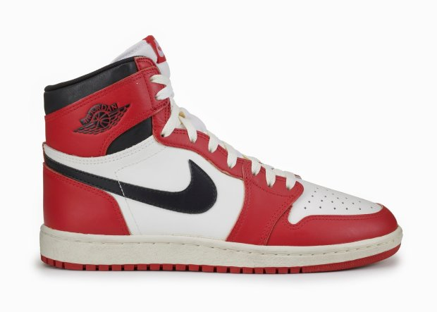 OAKLAND MUSEUM OF CALIFORNIAThe black-and-red Air Jordans from the 1980s gained popularity because Michael Jordan was fined by the National Basketball League for wearing them.