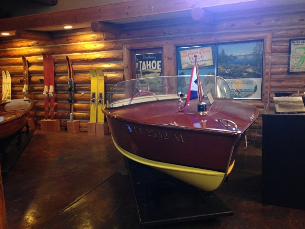 Lodged in new quarters -- a modern, two-story log cabin in Tahoe City -- the Tahoe Maritime Museum offers plenty of appeal for anyone fascinated by boating, sailing or water-skiing. (Photo: Jackie Burrell/Bay Area News Group)