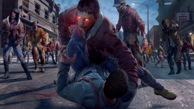 "Frank West tries to fend off a new type of undead called a Fresh Zombie in ""Dead Rising 4."""