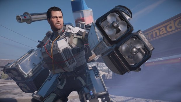"The exo suit is one of the new features in ""Dead Rising 4."" The power-up lets Frank West overwhelm undead hoardes."