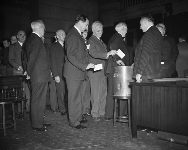 Dec. 16, 1940: New York electoral college members cast votes at the state capital in Albany, N.Y.(AP Photo)