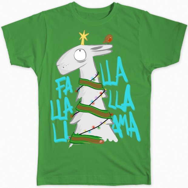 A holiday-themed T-shirt featuring a llama. (Barry Sellers via AP)