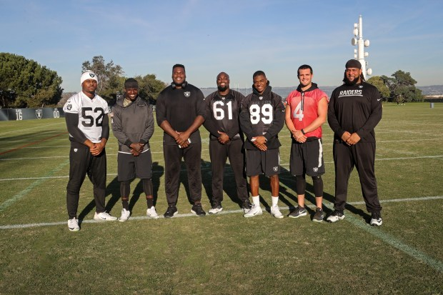 This is a photo of The Oakland Raiders Players that were selected for the 2017 Pro Bowl left to right Khalil Mack, Reggie Nelson, Kelechi Osemele, Rodney Hudson, Amari Cooper, Derek Carr, Donald Penn. This photo was taken at The Oakland Raiders Practice Facility in Alameda, California. December 20, 2016.