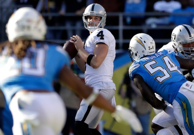 Oakland Raiders quarterback Derek Carr looks to throw a pass during the first half of an NFL football game against the San Diego Chargers Sunday, Dec. 18, 2016, in San Diego. (AP Photo/Alex Gallardo)