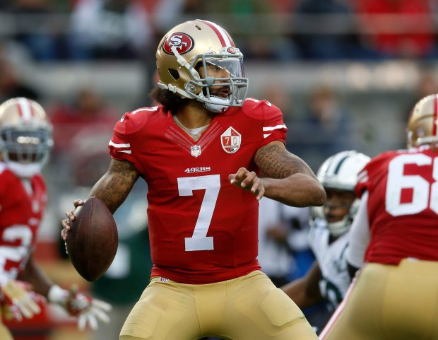San Francisco 49ers starting quarterback Colin Kaepernick (7) looks to pass against the New York Jets in the fourth quarter of their NFL game at Levi's Stadium in Santa Clara, Calif., on Sunday, Dec. 11, 2016. (Nhat V. Meyer/Bay Area News Group)