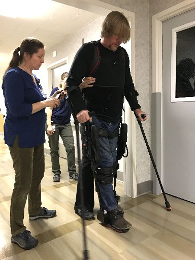 Darrin Caddes, 52, walked for the first time in nearly 16 years on Dec. 12 using the Ekso GT robotic exoskeleton. (Contributed)